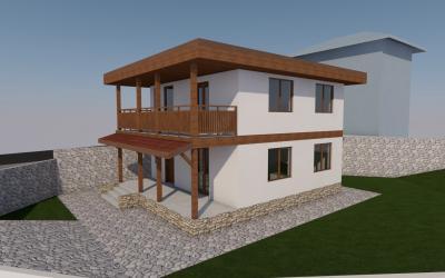 Двуетажна еднофамилна жилищна сграда с дървена носеща конструкция